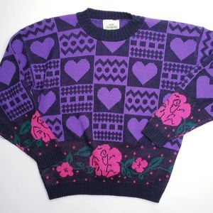 Vintage Hot Cashews Floral Heart Retro Sweater